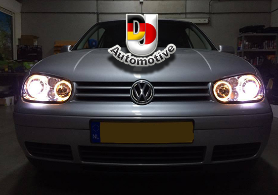 vw golf 4 angel eyes koplampen chroom met xenon h7 r32. Black Bedroom Furniture Sets. Home Design Ideas