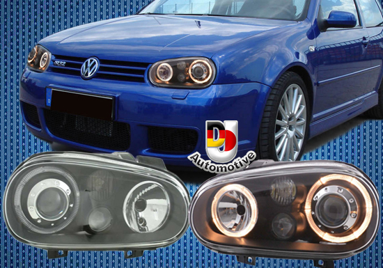 angel eyes koplampen voor vw golf 4 zwart dj automotive. Black Bedroom Furniture Sets. Home Design Ideas